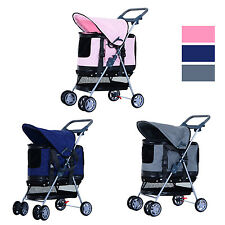 Pet Stroller Trolley Pushchair Jogger Dog Cat Foldable Detachable Carrier 2in1