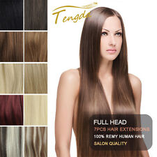"""28"""" Full Head Clip in 100% Remy Human Hair Extensions 7pcs/set 150g"""