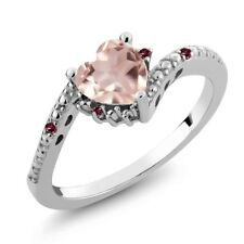0.73 Ct Heart Shape Rose Rose Quartz Red Rhodolite Garnet 925 Silver Ring