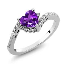 0.69 Ct Heart Shape Purple Amethyst White Sapphire 14K White Gold Ring