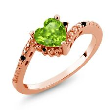 0.86 Ct Heart Shape Green Peridot Black Diamond 18K Rose Gold Plated Silver Ring