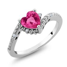 0.83 Ct Pink Created Sapphire White Created Sapphire 14K White Gold Ring