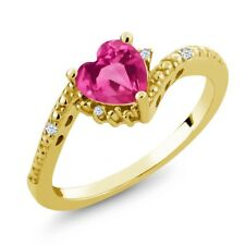 0.99 Ct Heart Shape Pink Mystic Topaz White Topaz 14K Yellow Gold Ring