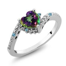 0.97 Ct Green Mystic Topaz Swiss Blue Simulated Topaz 925 Sterling Silver Ring