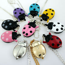 Colorful Ladybug Pendant Necklace Quartz Watch Party Gift Fashion Watches GL02