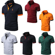 Hot Men's Casual Cotton Tip Collar Polo Shirt T-shirt Plain Short Sleeve Tee Top