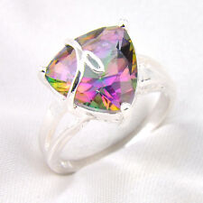 Amazing Gift Multi Gemstone Rainbow Colored Fire Topaz Silver Ring Size 7 8 9