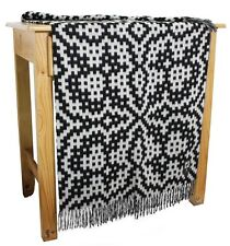 Blended Alpaca Merino Wool Woven Throw Blanket Special Design With Fringe