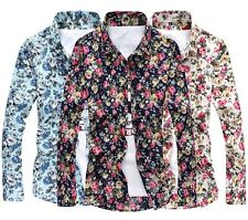 Floral Men's Luxury Flower Printing Casual Shirt Button Front Dress Shirts