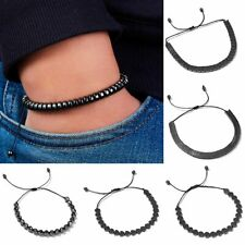 Handmade Knitted Bracelet Men Jewelry 4mm Beaded String Adjustable Bangle Gifts