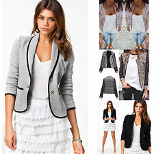 Womens Casual Short Blazer Suit Slim Long Sleeve Jacket Coat Outwear Suit OL New