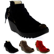 Womens Fly London Yema Oil Suede Wedge Heel Platform Peep Toe Ankle Boots UK 3-9