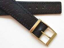 Black pig print leather wirelug ~ open end vintage watch band