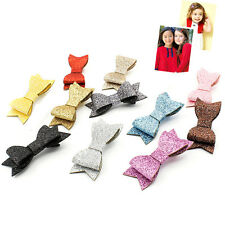 Baby Girl Hairbow Hairpins Glitter Leather Bow Hair Clips Hair Headwear  HU