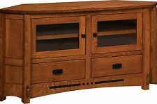 """Amish Mission Colebrook Solid Wood Corner TV Stand Console Cabinet 61"""""""