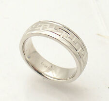 Anti-Tarnish Greek Key Design Band Ring Real Solid 925 Sterling Silver