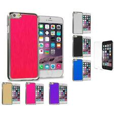 Brushed Aluminum Metal Luxury Hard Case Cover for iPhone 6 6S + Tempered Glass