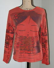 Chico's Asian Inspired Long Sleeve Knit Cotton Shirt, Size 2 (Med - Large)