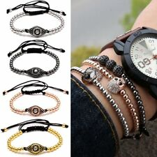 Gold Zircon 30Beads & Evil Eye 4MM Beads Adjustable Braiding Macrame Bracelet