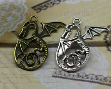 6/25pcs Big wings flying dragon alloy of fashion and personality charm pendant