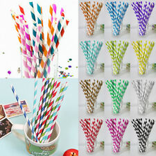 25x Colorful Paper Straws Striped Drinking Straw Party Birthday Wedding Supply