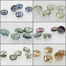 5pcs 14X14mm Faceted Round falt cut Glass Crystal Loose Spacer Charm Beads