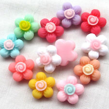 50/100pcs  Mini Flowers Resin Flatback Flat Backs Card Craft Scrapbooking B0496