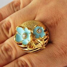 Vintage Crystal Womens Wedding Ring Gold Flower jewelry free shipping Size7 8 9