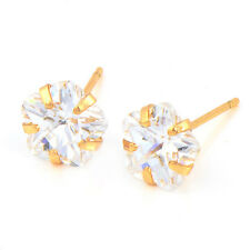 Delicate & Shiny Flower Rose Gold Plated Cubic Zirconia Stud Earrings