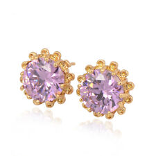 Earring Flower 18K Yellow Gold Plated Purple Color Round CZ Stud Earrings