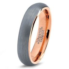 5mm Tungsten Wedding Band Ring for Men Women Comfort Fit 18K Rose Gold Plated D