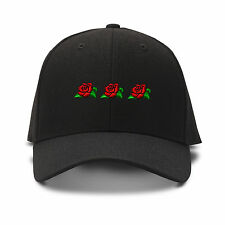 3 Red Roses Embroidery Embroidered Adjustable Hat Baseball Cap