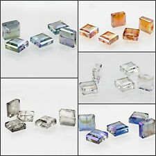 5x5mm Faceted Glass Crystal Loose Spacer Teardrop Charm Square Beads 5pcs