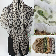 Fashion Women's Leopard Rabbit fur Triangle Scarf Soft Georgette Shawl Silk Wrap