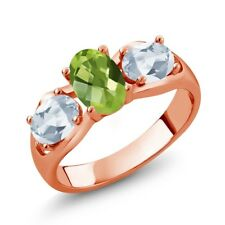 1.85 Ct Oval Green Peridot Sky Blue Topaz 18K Rose Gold Plated Silver Ring
