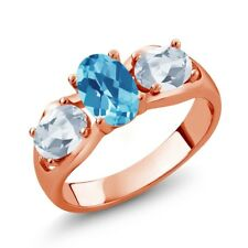 1.95 Ct Oval Swiss Blue Topaz Sky Blue Topaz 18K Rose Gold Plated Silver Ring