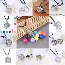 Silver Locket Pendant Leather Necklace Harmony Sound  Ball  Pregnant Women Gift
