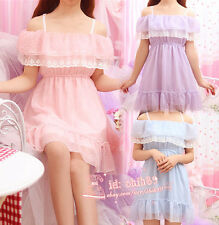 Mori Girl Kawaii Sweet Lolita Lace Chiffon onepiece Dress Summer Dew shoulder