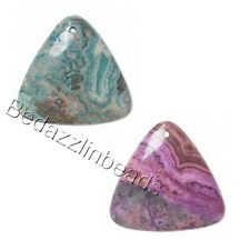 Big Crazy Lace Agate 45mm Natural Gemstone Triangle Teardrop Focal Bead Charm