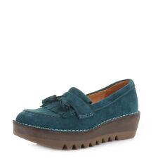 Womens Fly London Juno Petrol Blue Suede Platform Loafers Shoes Ladies Uk Size