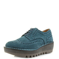 Womens Fly London Jane Suede Petrol Leather Brogue Wedge  Shoes UK Size