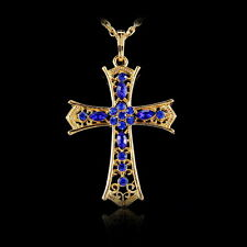 Gold Tone Cross Crystal Rhinestone Pendant Sweater Chain Long Necklace Jewelry