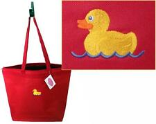 Rubber Duck Duckie LG Zipper Tote Bag Bathtub Bath Tub Time Monogram Get Red Now
