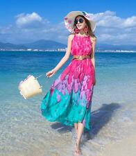 one-piece dress Women Summer Beach Colorful Bohemia Chiffon Sexy Maxi Long Dress