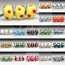 5pcs Lampwork Murano Glass Beads Fit European Charm Bracelets DIY 14x14x10mm