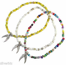 ANKLET ANGEL WINGS CHARM Glass Seed Beads on Elastic - 9 Colour Choices 5 Sizes