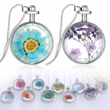 Round Glass Locket Living Memory Pendant Real Dried Pressed Flower Necklace Gift