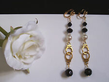 Long gold handcuff earrings - black/glass pearl glass beads (pierced or clip)