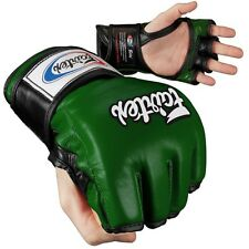 Fairtex Ultimate Combat MMA Gloves - Open Thumb - Green / Black