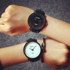 Fashion Couple Watches Steel Case Leather Mens womens Quartz Analog wrist Watch